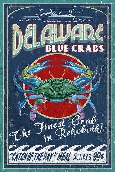 Rehoboth, Delaware - Blue Crabs Vintage Sign-Lantern Press-Art Print