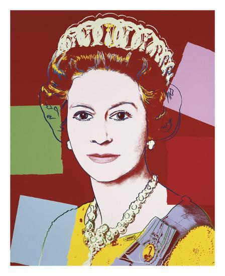 Reigning Queens: Queen Elizabeth II of the United Kingdom, 1985 (dark outline)-Andy Warhol-Art Print