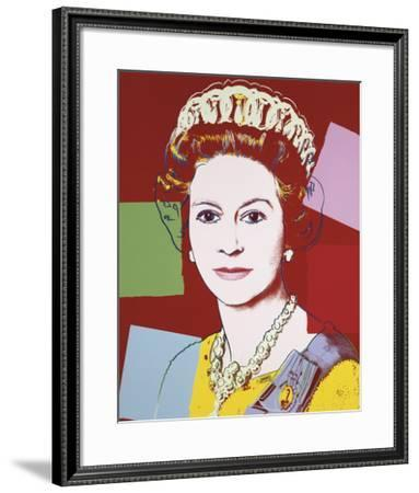Reigning Queens: Queen Elizabeth II of the United Kingdom, 1985 (dark outline)-Andy Warhol-Framed Art Print