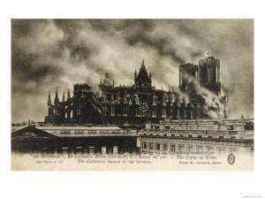 Reims Cathedral is Set on Fire by the Germans