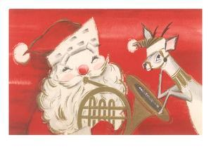 Reindeer, Santa with French Horn