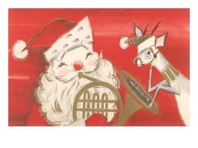 Reindeer, Santa with French Horn--Art Print