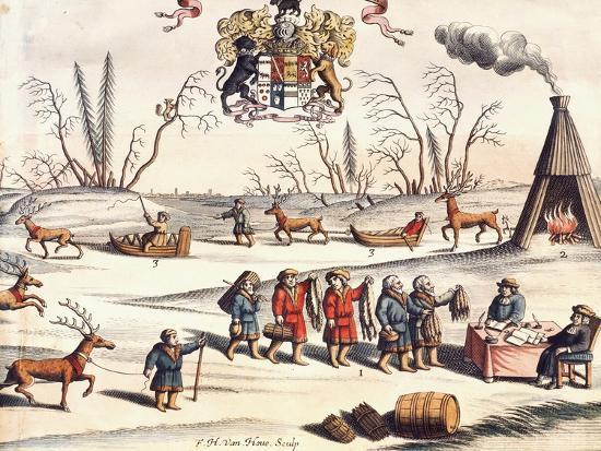Reindeer Shepherds, Lapland-Joan Blaeu-Giclee Print
