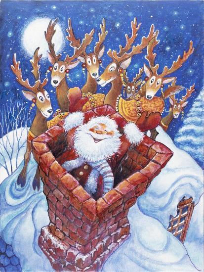 Reindeer Watch Santa Slide Down Chimney-Bill Bell-Giclee Print