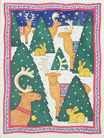 Reindeers around the Christmas Trees-Cathy Baxter-Giclee Print