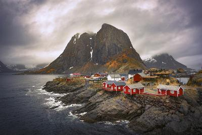 Reine Red Houses-Marco Carmassi-Photographic Print