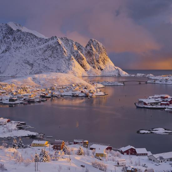 Reine' (Village), Lilandstinden, Moskenesoya (Island), Lofoten, 'Nordland' (County), Norway-Rainer Mirau-Photographic Print
