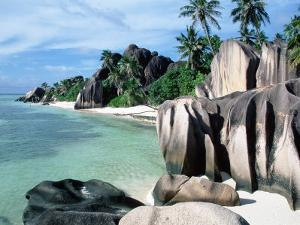 Rocky Coast and Beach, La Digue, Anse Source D'Argent, Seychelles by Reinhard