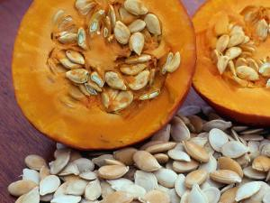 Sliced Pumpkin with Pumpkin Seeds (Cucurbita Sp) Europe by Reinhard