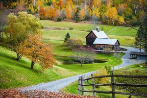 Fall Foliage, New England Countryside at Woodstock, Vermont, Farm in Autumn Landscape. Old Wooden B by Reinhard Tiburzy
