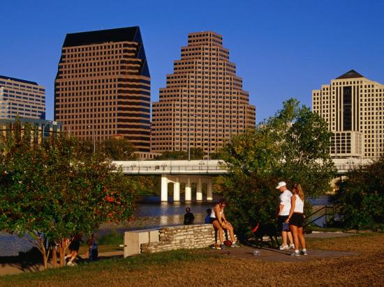 Relaxing in Butler Park East in Downtown Austin, Texas-Richard Cummins-Photographic Print