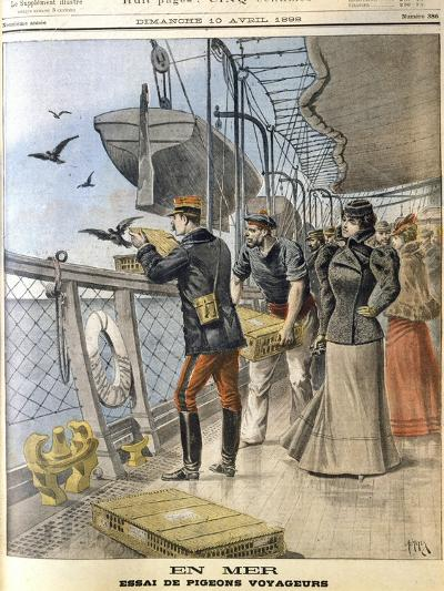 Releasing French Army Homing Pigeons on Board the Transatlantic Liner 'La Bretagne, 1898--Giclee Print
