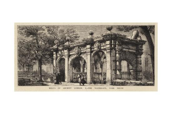 Relics of Ancient London, I, the Watergate, York House-Henry William Brewer-Giclee Print