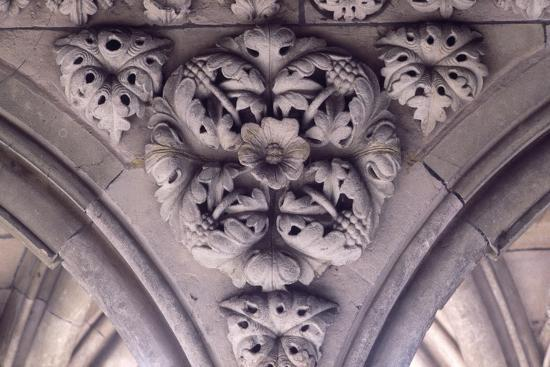 Relief Decoration from Arches of Cloister of Marvel, Abbey of Mont St Michel, Normandy, France--Giclee Print