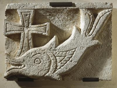 Relief Depicting a Fish and a Cross--Giclee Print