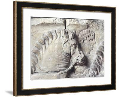 Relief Depicting a Groom Between Two Horses--Framed Giclee Print