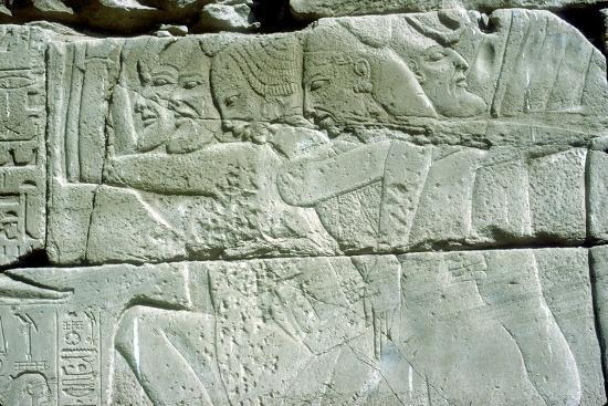 Relief depicting captives of war, Temple of Amun, Karnak, Egypt. Artist: Unknown-Unknown-Giclee Print