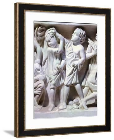 Relief Depicting Fight Between Children--Framed Giclee Print