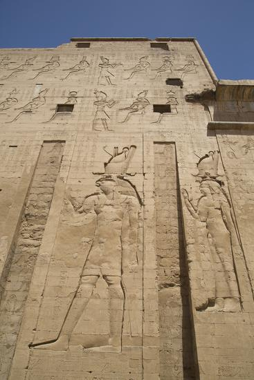 Relief Depicting Horus on Left, Pylon, Temple of Horus, Edfu, Egypt, North Africa, Africa-Richard Maschmeyer-Photographic Print