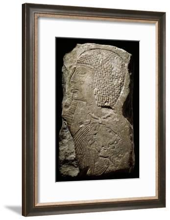 Relief depicting Ramesses II with a bound Nubian captive, Ancient Egyptian, 1279-1213 BC-Werner Forman-Framed Giclee Print