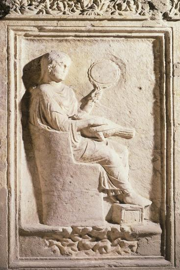 Relief Depicting Roman Lady with Mirror--Giclee Print