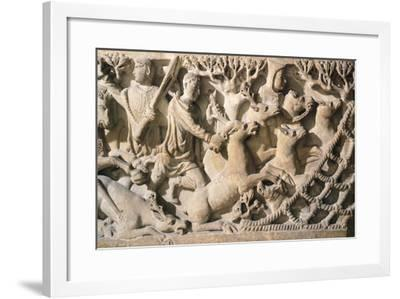 Relief Depicting Scene of Deer Hunting with Nets, from Front of Sarcophagus--Framed Giclee Print