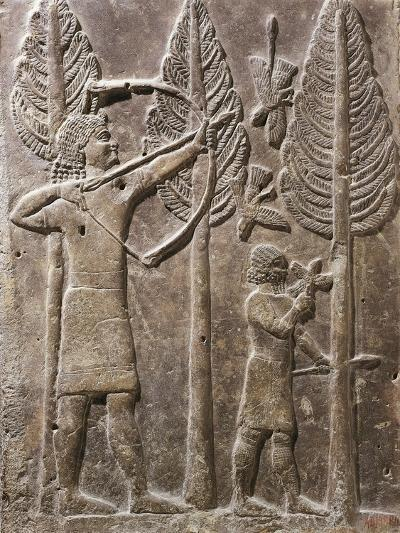 Relief Depicting Scene of Hunting by Bow, from Palace of Sargon, Dur Sharrukin, Iraq--Giclee Print