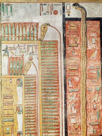 Relief Depicting the Path Which the Dead Must Cross to the Afterlife, from the Tomb of Seti I- Egyptian 19th Dynasty-Giclee Print