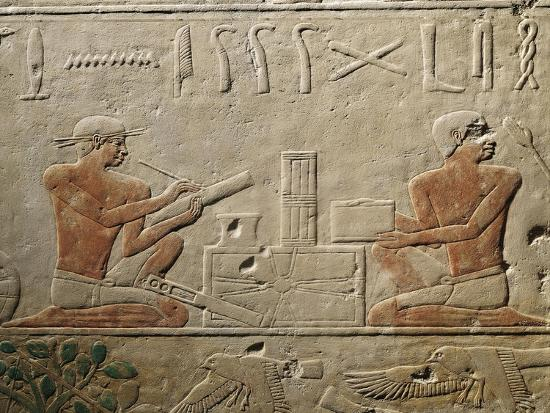 Relief Depicting Two Scribes, from Mastaba of Akheteps at Saqqara, Old Kingdom, Dynasty V--Giclee Print