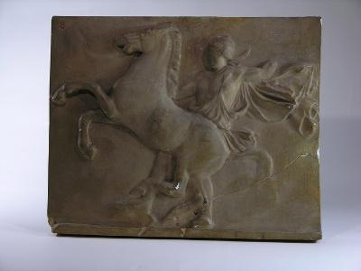 Relief Fragment Depicts A Figure with A Horse, A Copy of A Frieze In the Classical Greek Style-James Wehn-Giclee Print