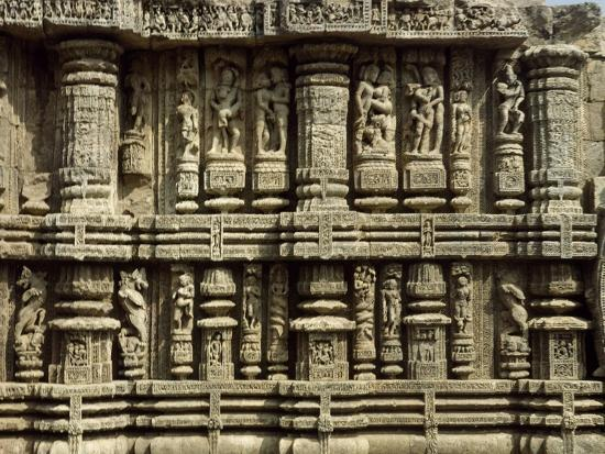 Relief from Hindu Sun Temple in Konarak--Photographic Print
