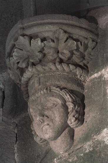Relief in Form of a Male Head with a Crown of Grape Leaves--Photographic Print