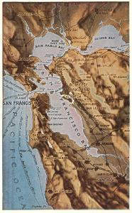 Relief Map of Bay Area, San Francisco, California
