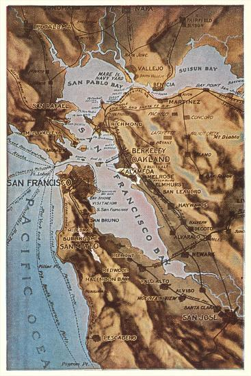 Relief Map of Bay Area, San Francisco, California--Stretched Canvas Print