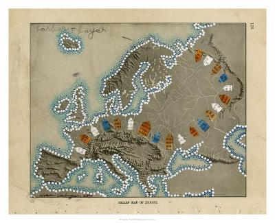 Relief Map of Europe-Nikki Galapon-Giclee Print