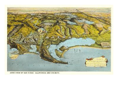 Relief Map of San Diego, California--Art Print