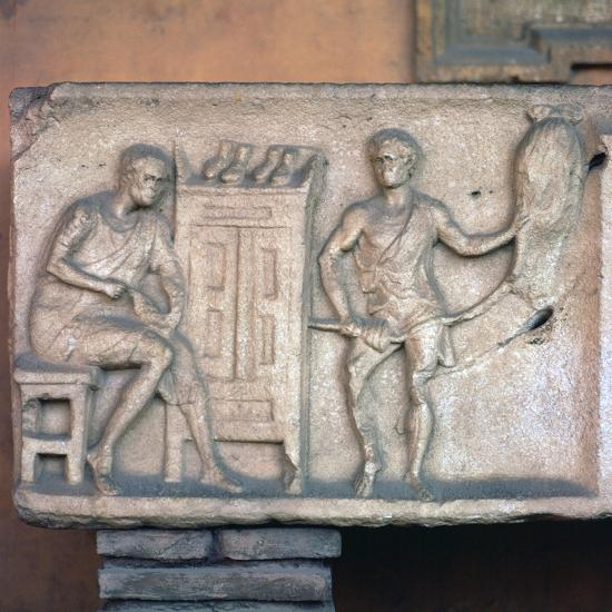 Relief of a Roman shoemaker and ropemaker. Artist: Unknown-Unknown-Giclee Print
