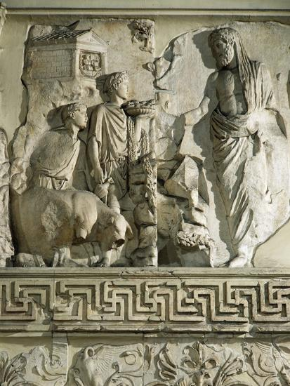 Relief of Aeneas Sacrificing to Penates, on Ara Pacis Augustae, Altar Built Between 13 and 9 B.C.--Giclee Print