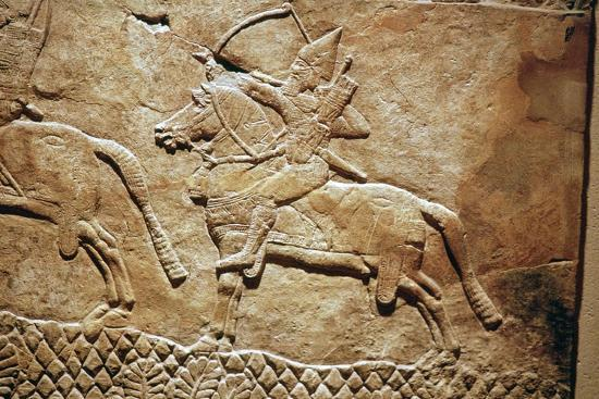 Relief of an Assyrian archer on horseback. Artist: Unknown-Unknown-Giclee Print