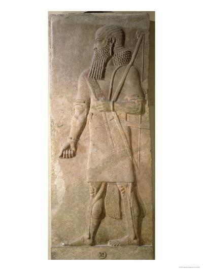 Relief of an Assyrian Warrior, from the Palace of Sargon II at Khorsabad, Iraq- Assyrian-Giclee Print