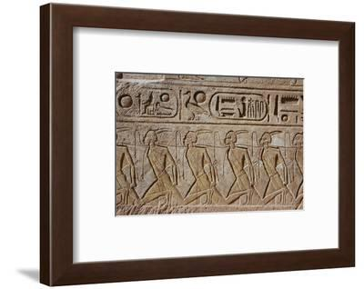 Relief of captured Nubian prisoners of war, Temple of Rameses II, Abu Simbel, Egypt-Werner Forman-Framed Photographic Print