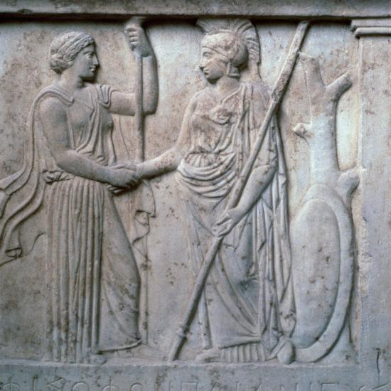 Relief of Hera and Athena clasping hands, 5th century BC. Artist: Unknown-Unknown-Giclee Print