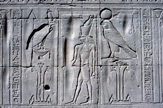 Relief of Horus (falcon-headed god), Temple of Horus, Edfu, Egypt, c251 BC - c246 BC-Unknown-Giclee Print