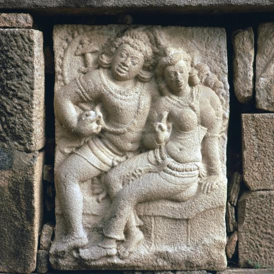 Relief of 'lovers' at Isurumuni in Sri Lanka, 4th century. Artist: Unknown-Unknown-Giclee Print