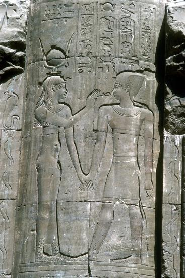 Relief of the goddess Hathor, Temple of Horus, Edfu, Egypt, Ptolemaic Period, c251 BC-c246 BC-Unknown-Giclee Print
