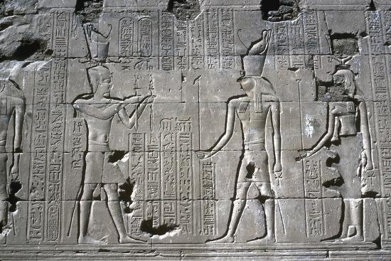 Relief of the Pharaoh before Horus, Temple of Horus, Edfu, Egypt, Ptolemaic Period, c251 BC-c246 BC-Unknown-Giclee Print