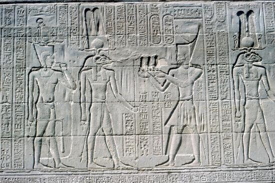 Relief of the Pharaoh before Knum, Temple of Khnum, Ptolemaic & Roman Periods. Artist: Unknown-Unknown-Giclee Print