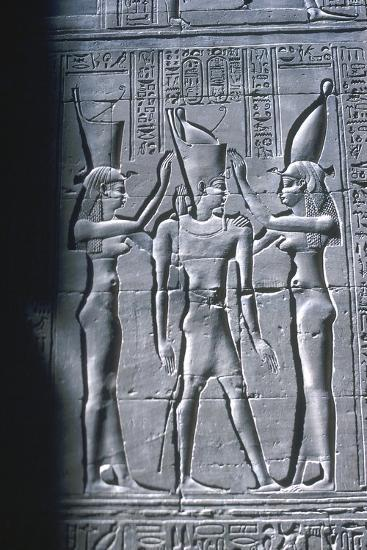 Relief of the Pharaoh between two goddesses, Temple of Horus, Edfu, Egypt, c251BC-c246BC-Unknown-Giclee Print