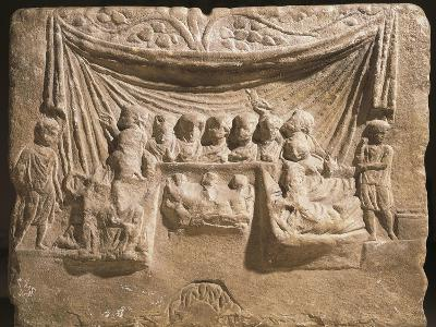 Relief on Cippus Depicting Feast, Guests are Lying on Triclinium Couches in Front of Tent--Giclee Print