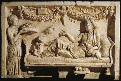 Relief Portraying Woman and Child at Feast, Servant Bringing Plate Laden with Food--Giclee Print